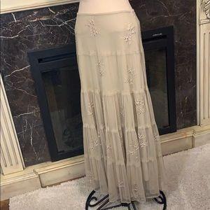 Newport News tulle embroidered full maxi skirt